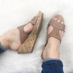 Anthro Jack Rogers Emilia metallic wedge sandal
